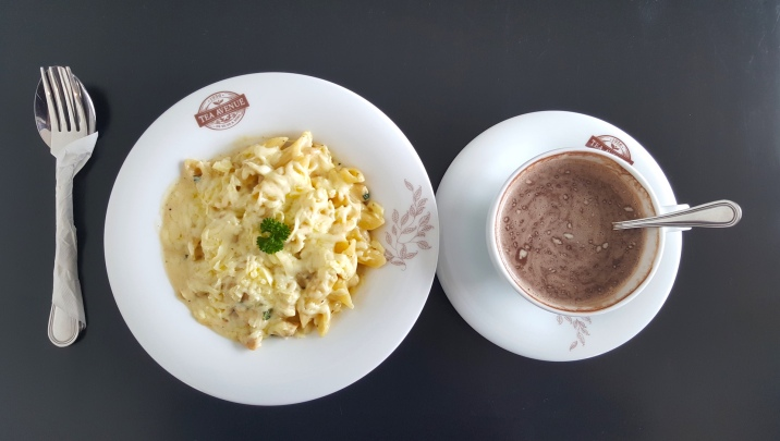 Creamy Chicken Pasta and Hot Chocolate