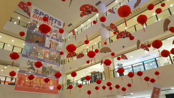 Chinese New Year decorations inside Kuantan City Mall
